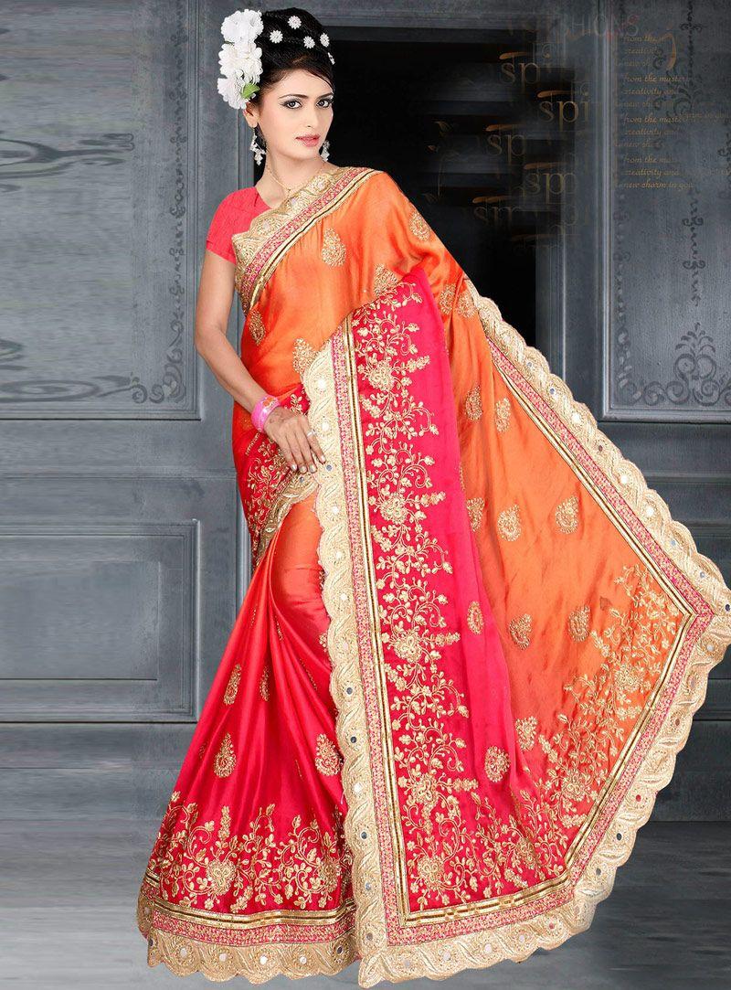 Peach color saree for wedding orange silk festival wear saree   silk saree  pinterest