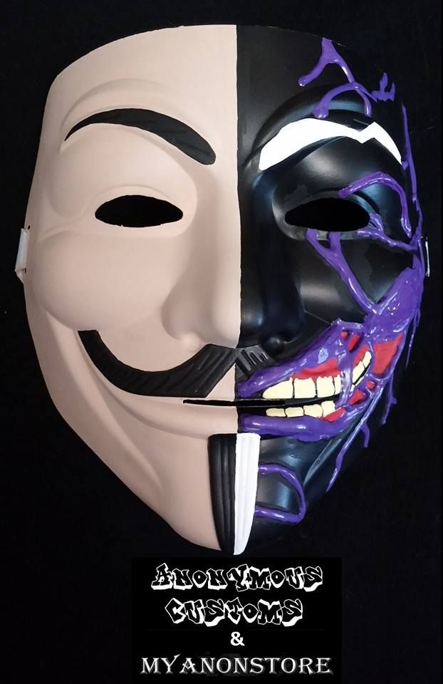 Custom Anonymous Mask 2 Face Harvey Dent Image Anonymous Mask