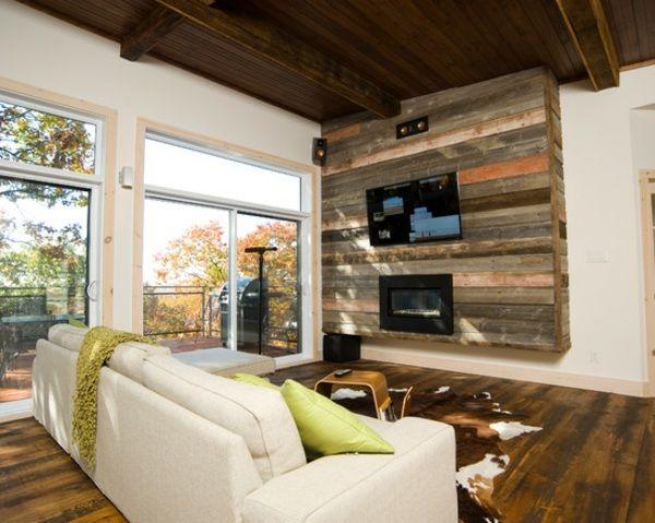 holz wandverkleidung fernseher decke sofa office design pinterest wohnzimmer fernseher. Black Bedroom Furniture Sets. Home Design Ideas