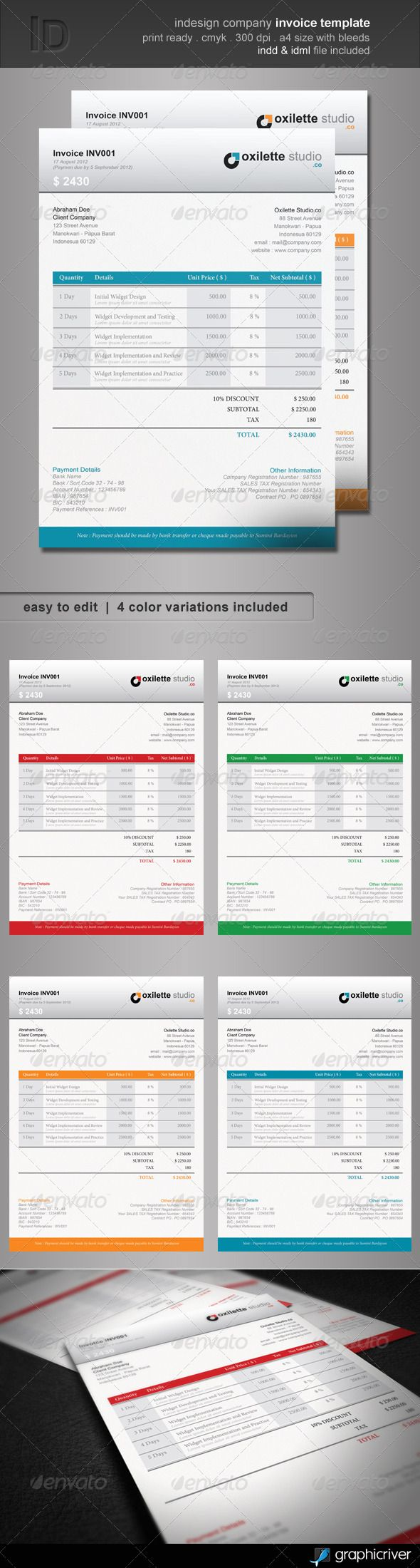 Indesign Company Invoice Template | Template, Fonts and Proposal ...