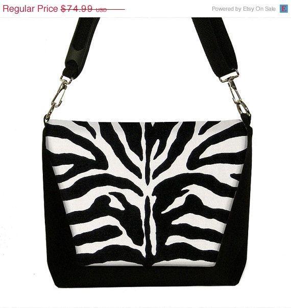 ON SALE DSLR Camera Bag Messenger  Zebra by janinekingdesigns, $59.99