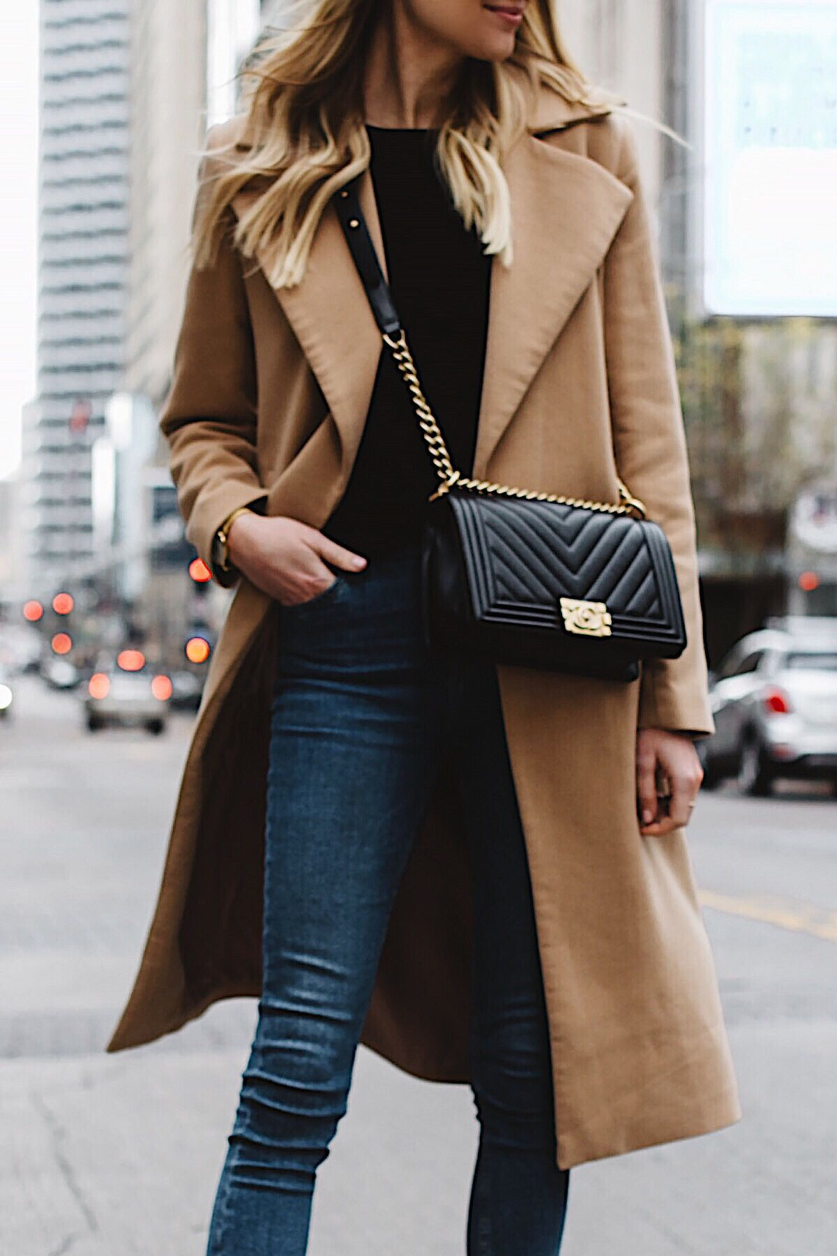 5449a42fc50 woman wearing long camel coat black sweater topshop denim skinny jeans  chanel black boy bag fashion jackson dallas blogger fashion blogger street  style