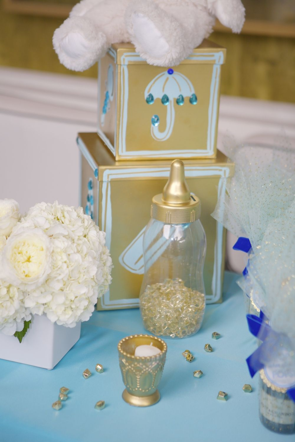 Blue And Gold Baby Shower Decorations Custom Made Gold Baby Blocks Handprinted Florals By Mv Florals