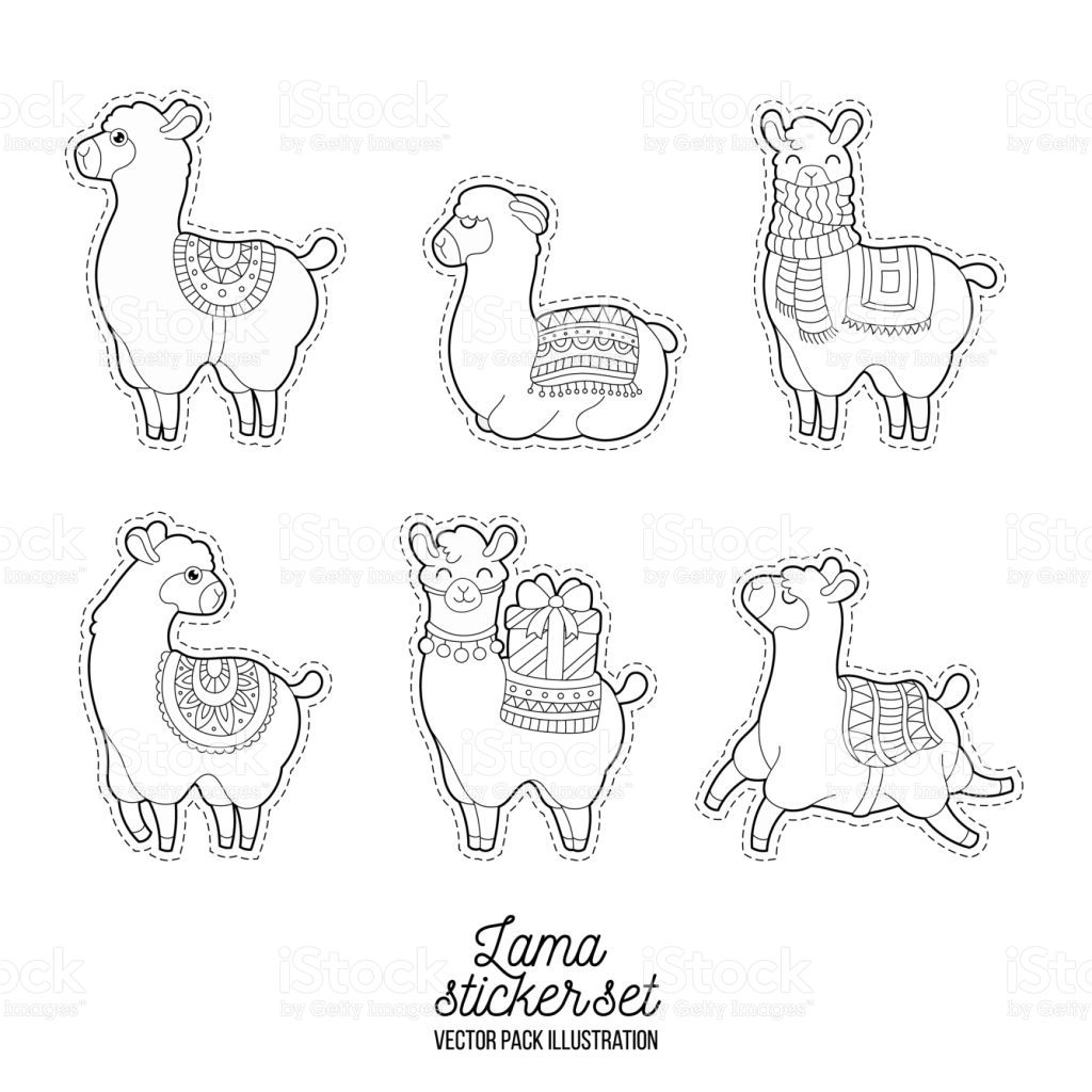 Cute Llama And Alpaca For Adult Coloring Pages Patches