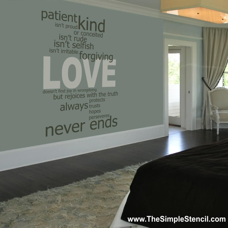 Wall Writing Decor Love Wall Stencilsmaller Scalescript Writing Hall