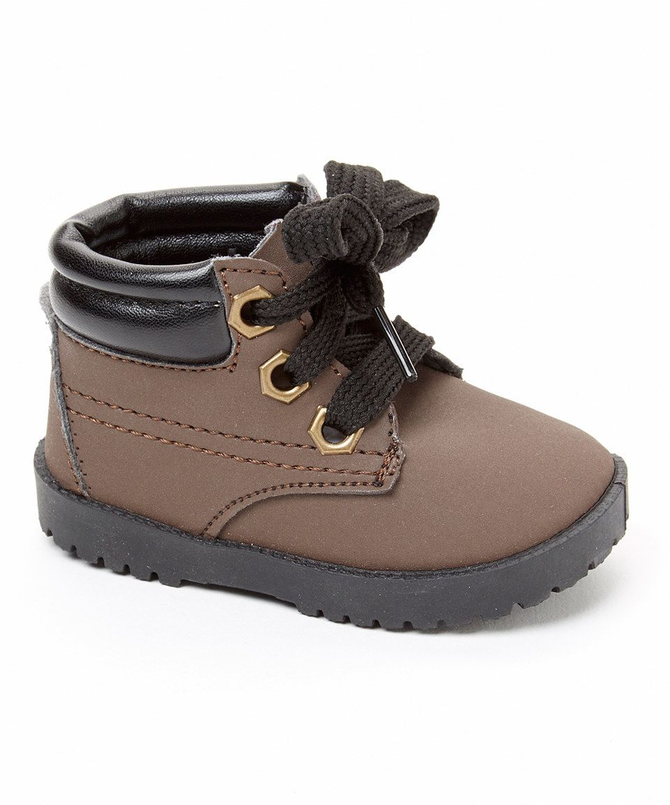Look what I found on #zulily! pitter patter Dark Brown Smooth Work Boot by pitter patter #zulilyfinds