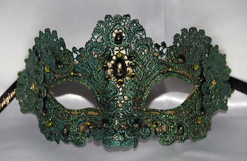 Green Lace Mask Masquerade Mask Gold Venetian Mask Victorian Mask Authentic | eBay