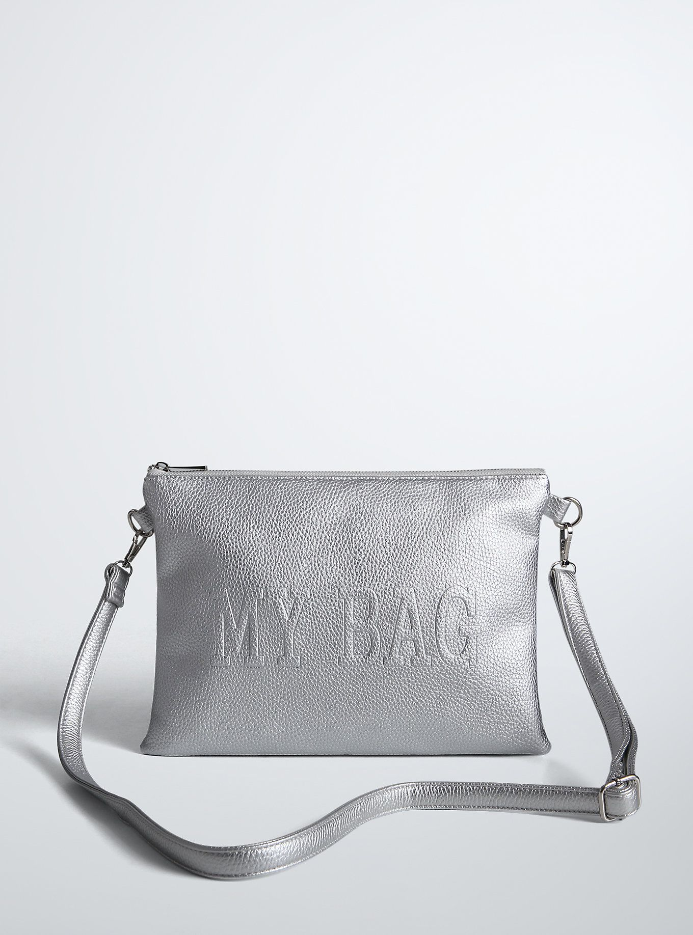"""<p>Hands off! No one will ever be able to steal your look with this clutch. Textured silver tone metallic faux leather covers the roomy design. One side states: """"my bag""""; the other: """"don't touch""""."""