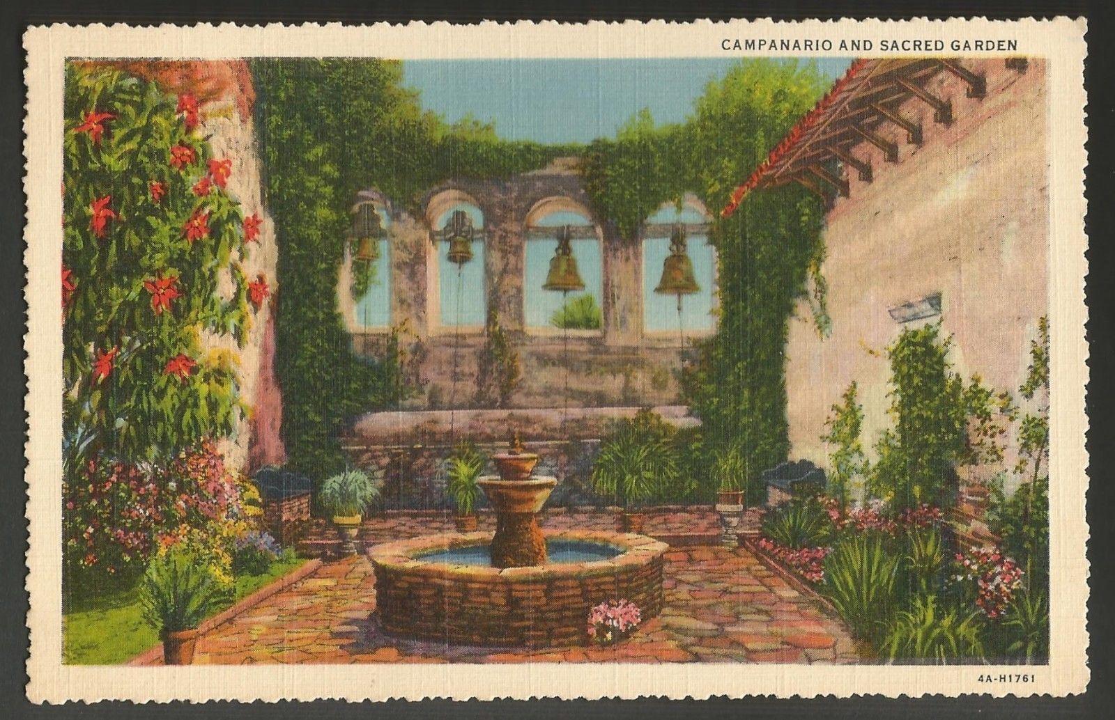 Mission San Juan Capistrano Garden Campanario Vintage Postcard CA ...