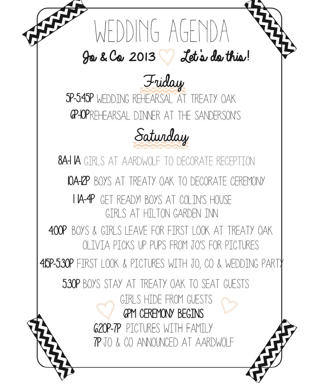 Wedding agenda sample