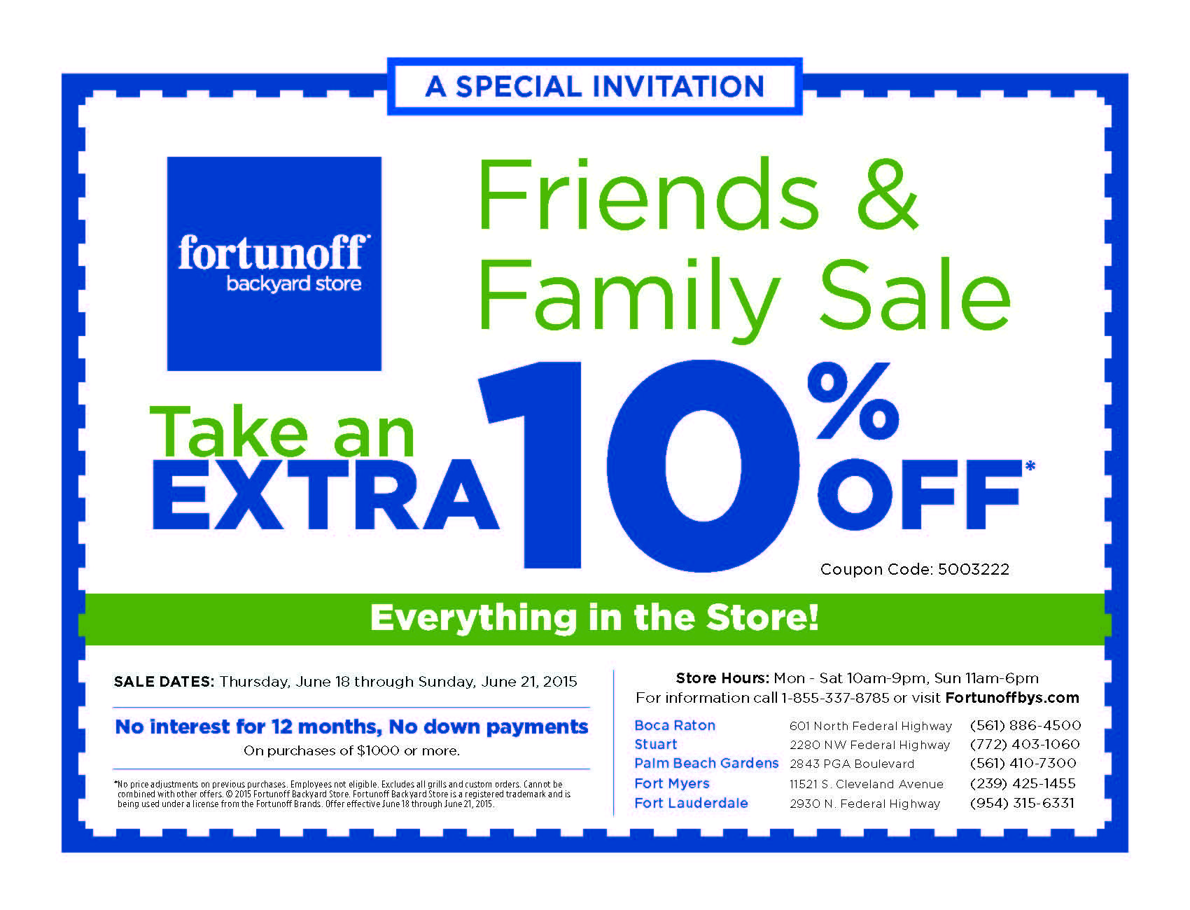 Don T Miss The Friends Family Sale At The Fortunoff Backyard Store Starting Today June 18th June 21 Take An Extra 10 Off Ev Backyard Store Store Hours