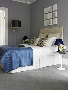 Cly Bedroom With Grey Carpets Lilac Walls Adding White And Black Accessories To Break Up The Colour Scheme Love It