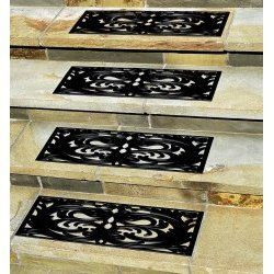 "http://www.slip-resistant-solutions.com/Fix-Slippery-Stairs.html Stair Treads-Set of 4-Black-Adds Safety To Stairs (Black) (29.5"" x 10"" each)"