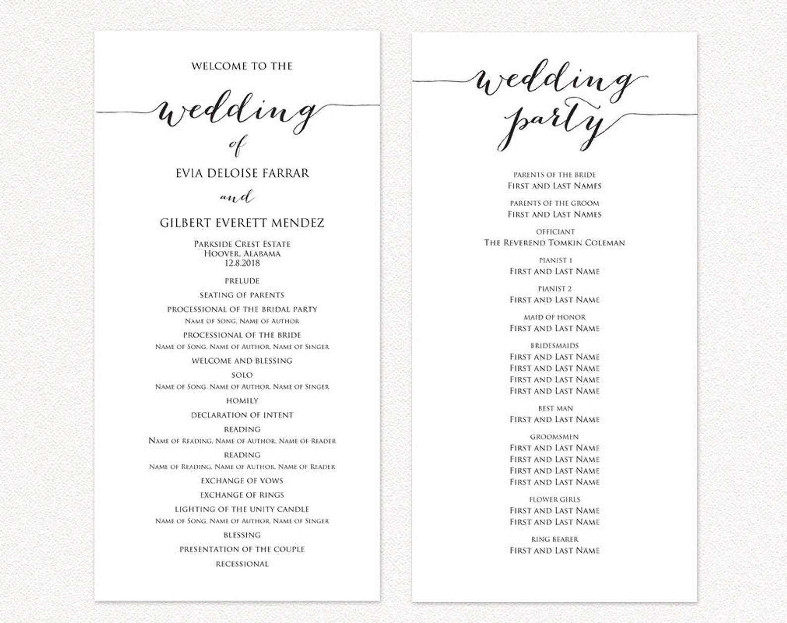 Wedding Program Two Templates Ceremony Program Template Diy Etsy In 2021 Wedding Programs Template Wedding Ceremony Programs Template Ceremony Program Template Wedding reception program template free