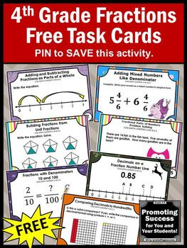 graphic regarding Free Printable Task Cards called No cost Portion Activity Playing cards, 4th Quality Math Assessment SCOOT Free of charge