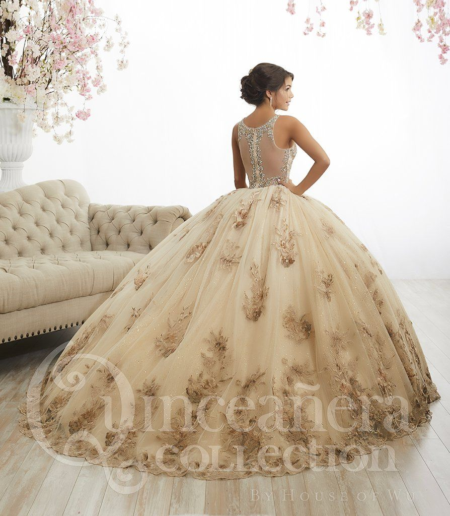 e6199a9593 Floral Appliqued Quinceanera Dress by House of Wu 26884-House of Wu-ABC  Fashion