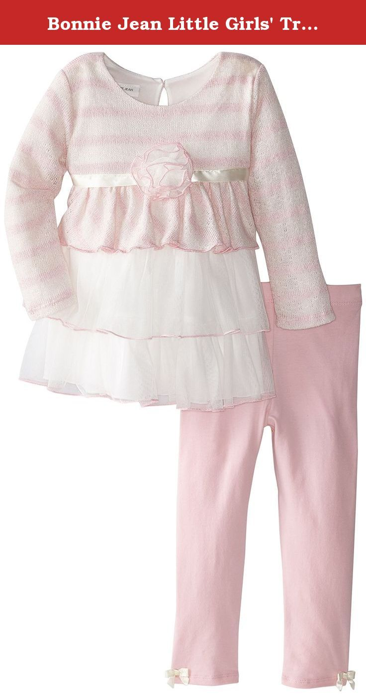 Bonnie Jean Little Girls' Triple Tiered Knit Playwear Set, Pink, 5. Brushed knit to tiered skirt playwear set with solid pink leggings.