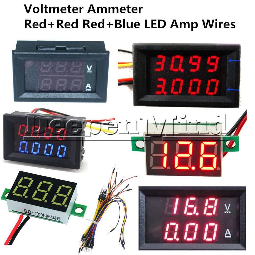 New Dc 0 200v 100v 10a 3 4 Bit Voltmeter Ammeter Red Red Red Blue Led Amp Wires In Industrial Electrical Test Equipme Electronic Schematics Led Red And Blue