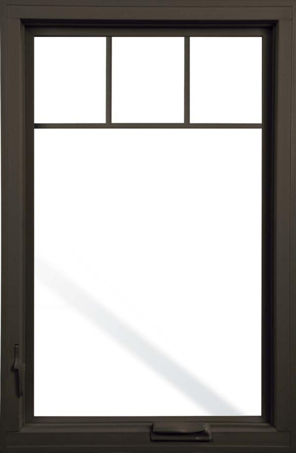 Pella impervia fiberglass casement window with top grill for Best blinds for casement windows