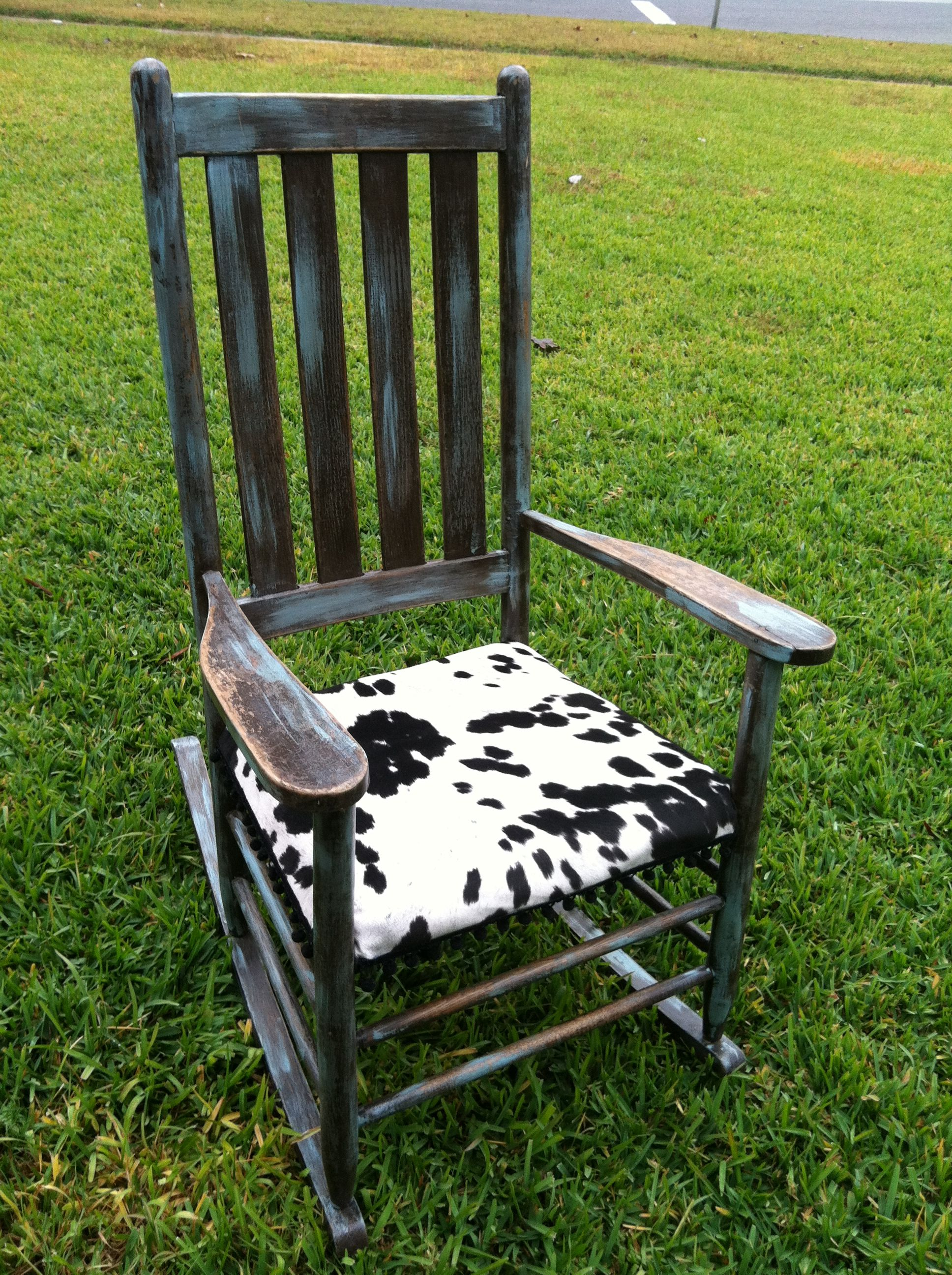 Repurposed rocking chair with velvet cow print seat ...