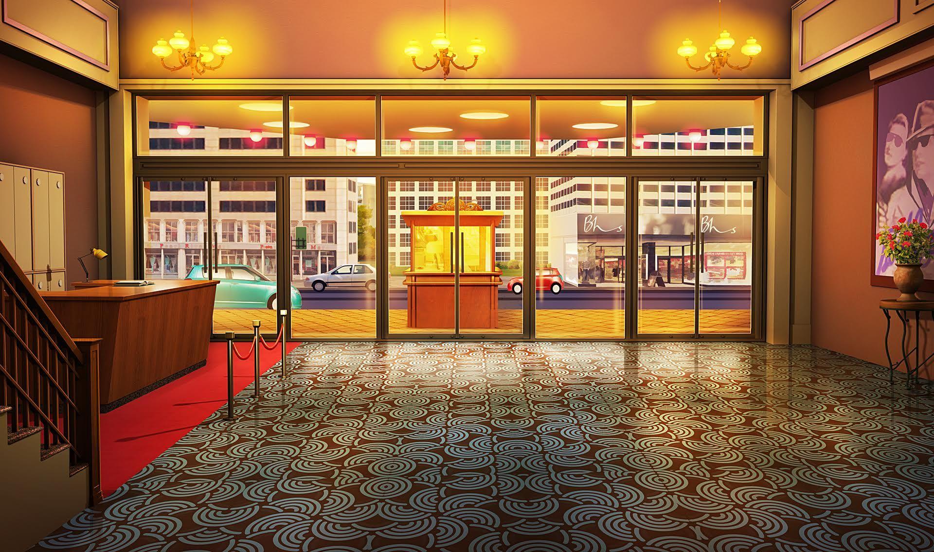 Int Theater Lobby Night Cenario Anime Fundo Para Video Fundo De Animacao