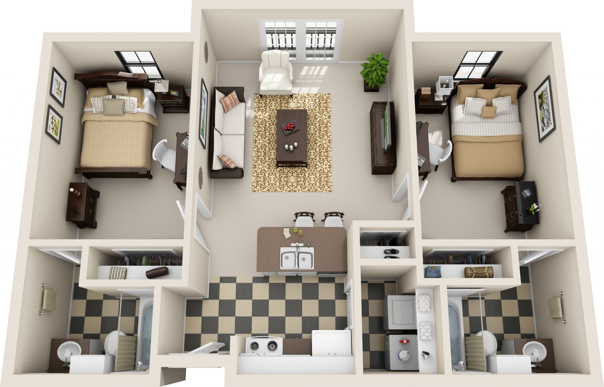 2 Bedroom Apartment 2 Bedroom Apartment Bedroom House Plans Renting A House
