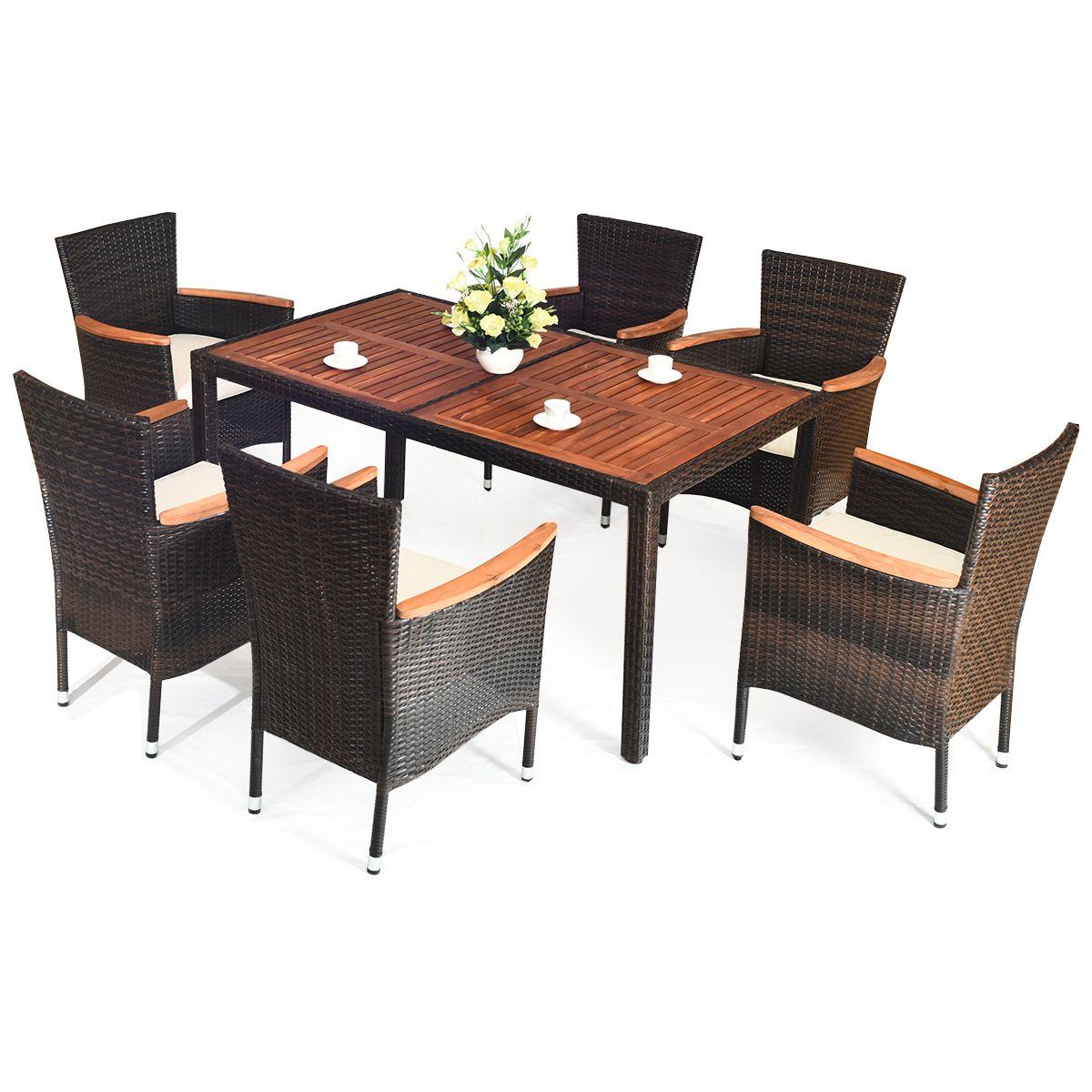 Costway 7pcs Patio Rattan Dining Set 6 Stackable Chairs Cushioned Walmart Canada In 2020 Patio Dining Set Garden Dining Set Patio Dining