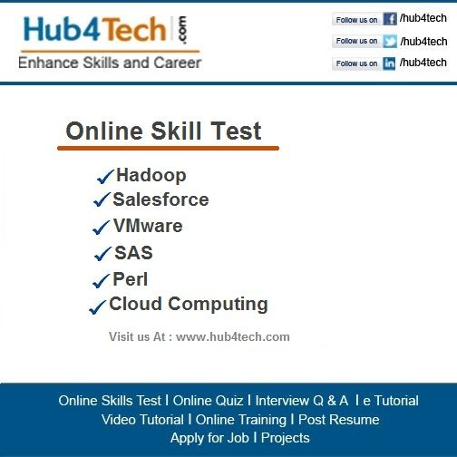 Hub4Tech Portal provides Online Skill Test on Hadoop - cloud computing resume