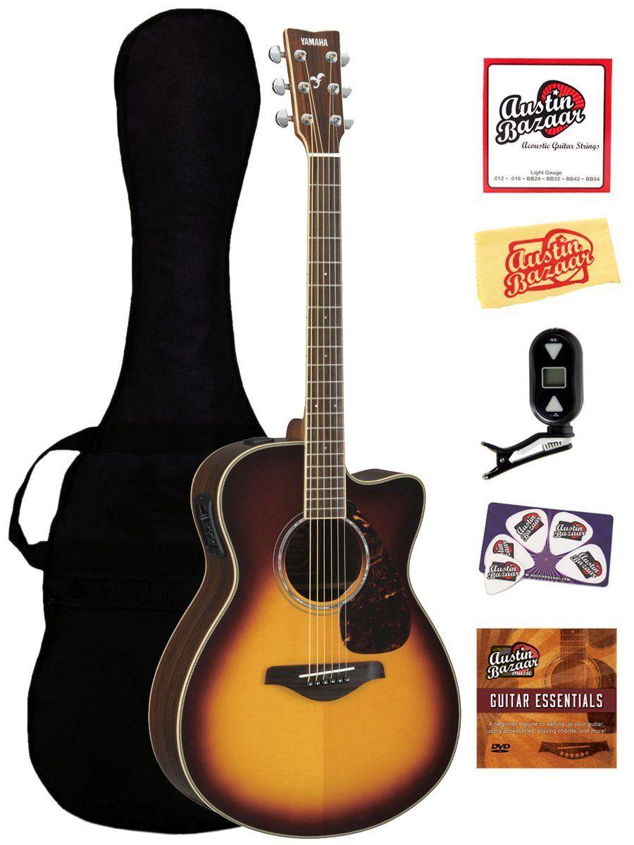 992e8b43b9 Yamaha Guitars - Yamaha FSX720SC Small Body Cutaway Acoustic-Electric  Guitar Bundle with Gig Bag, Tuner, Instructional DVD, Strings, Pick Card,  ...