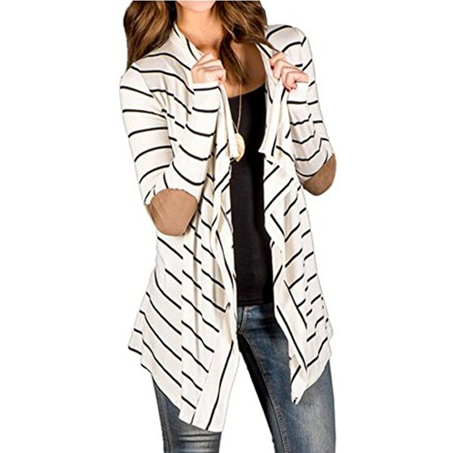 Women Black and White Striped Long Cardigan Loose Jacket -- Visit ...