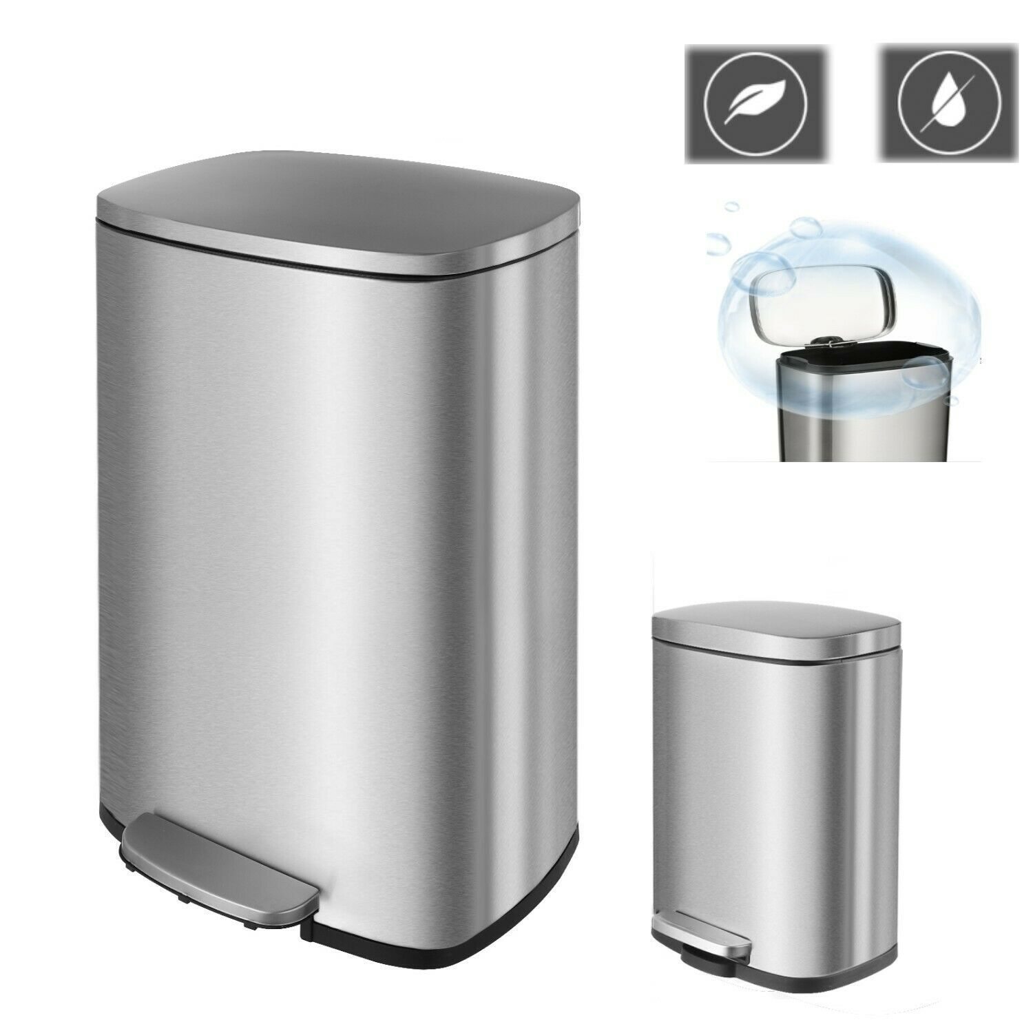 Stainless Steel Step On Trash Can Foot Pedal Storage Bucket Home