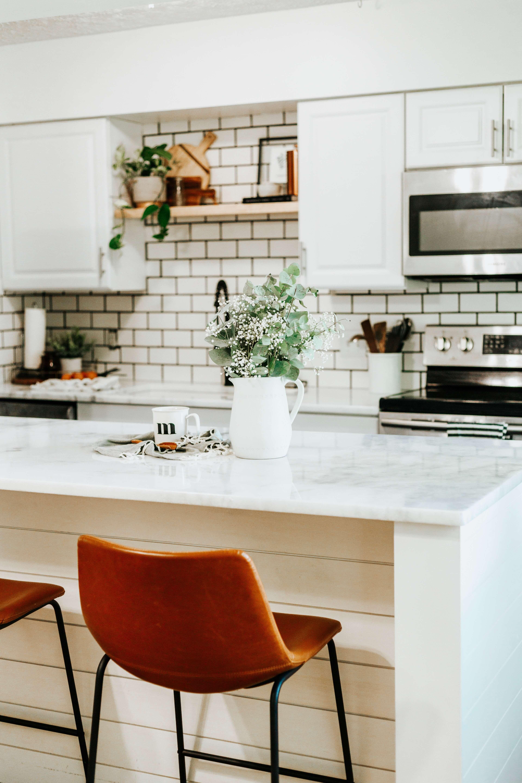 modern farmhouse kitchen reveal modern farmhouse kitchens custom countertops white subway on farmhouse kitchen decor countertop id=48296
