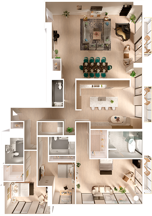 Penthouse 3d Floor Plan Top View 3d Floor Plans Floorplans 3d 3dfloorplans Penthouse Schlaf Home Building Design Sims House Design House Layout Plans