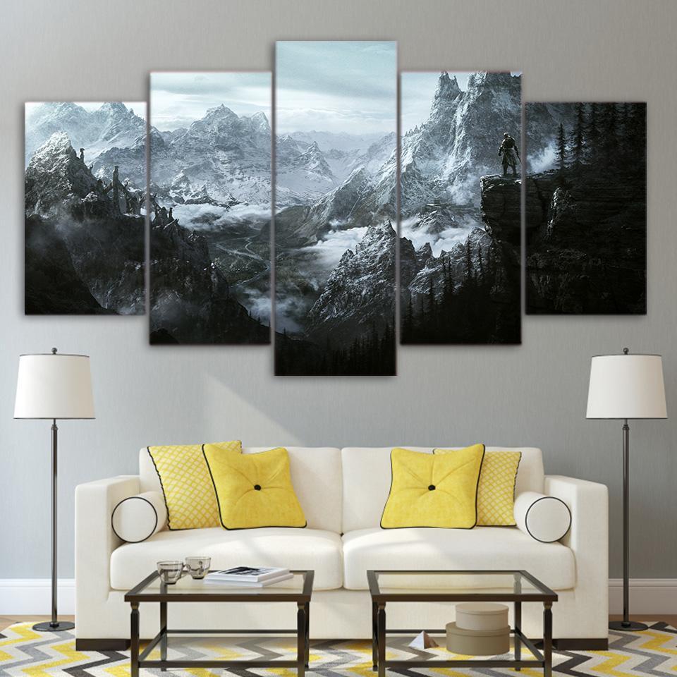 The Elder Scrolls V Skyrim 5 Panel Wall Art On Canvas For Living