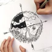 Minus sailboat + more waves and a spaceship in the night sky, # pencil …… #Tattoos – Voleta P. Minus sailboat + more waves and a spac …