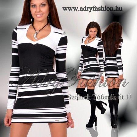 58bf961a19 Rensix csíkos V kivágott női ruha | www.adryfashion.hu