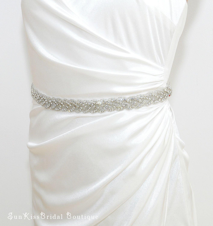 BRIE Braided Rhinestone Bridal Sash,Beaded Crystal Sash,Bridesmaids ...