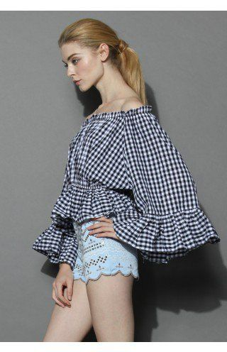 Chic Check Ruffled Off-shoulder Top - Tops - Retro, Indie and Unique Fashion