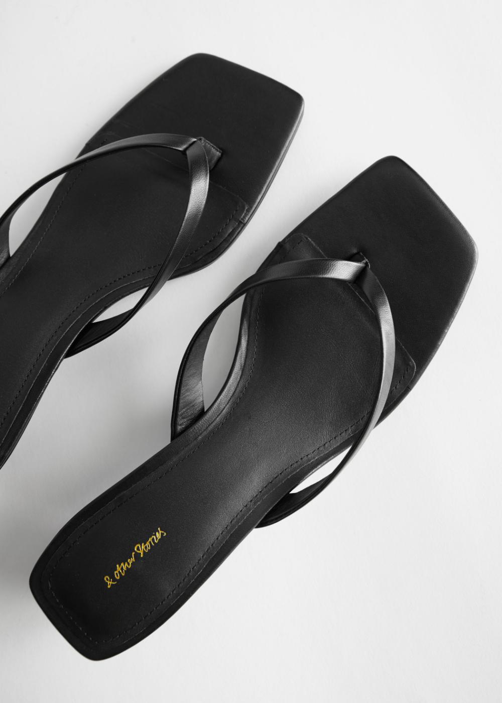 Leather Kitten Heel Flip Flop In 2020 Heeled Flip Flops Black Leather Flip Flops Kitten Heel Shoes