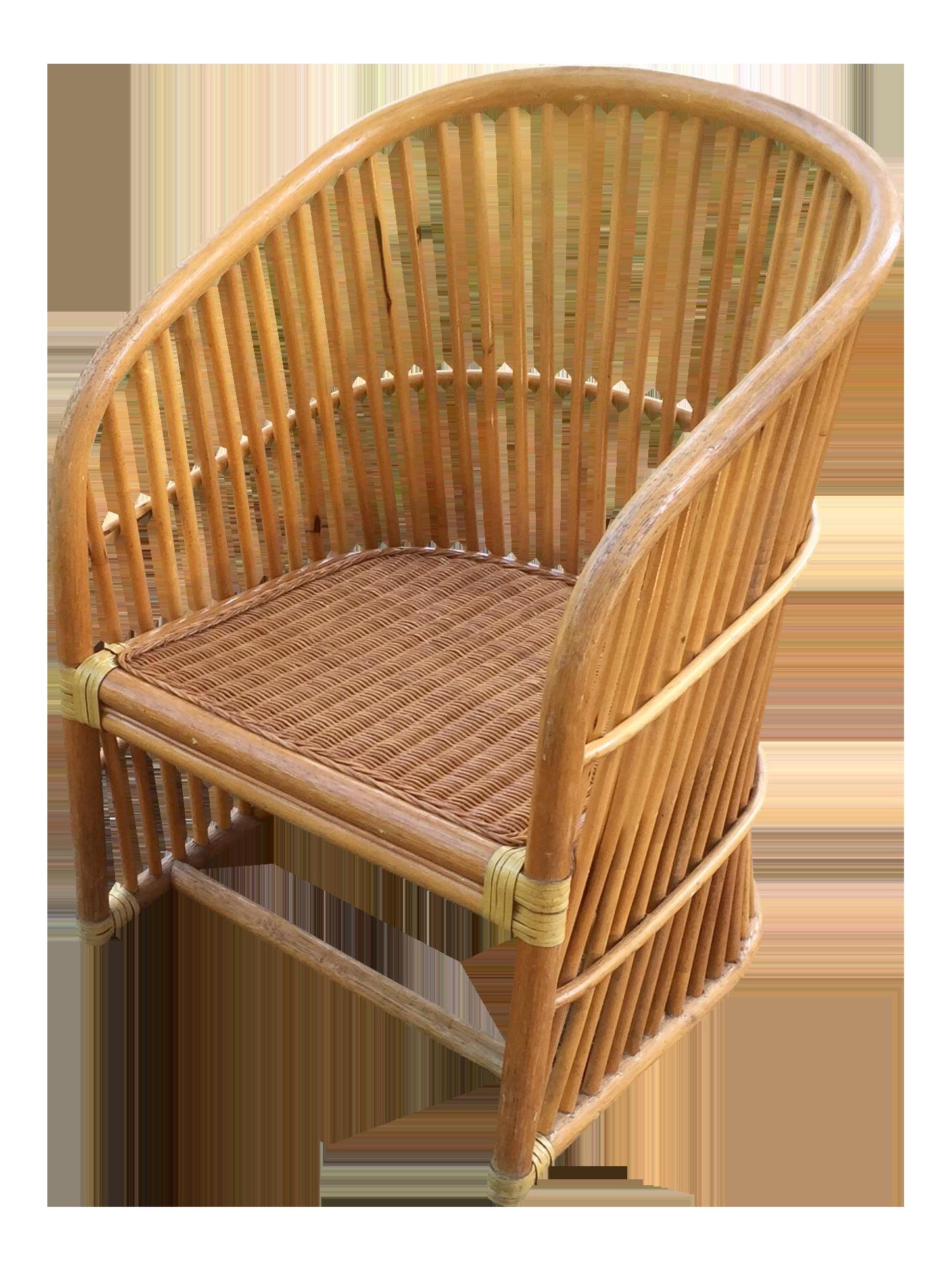 Vintage Rattan Barrel Chair On Chairish.com