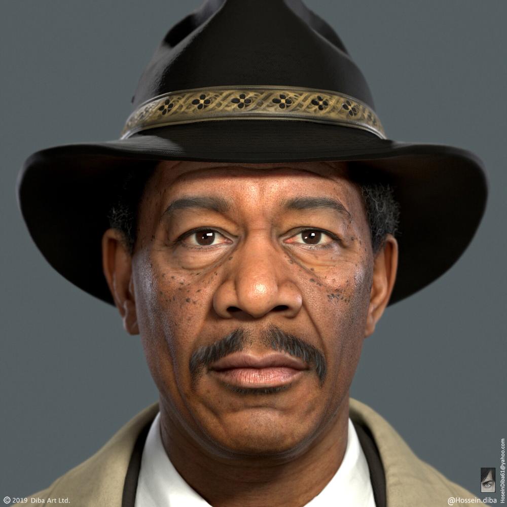 Artstation Morgan Freeman Se7en Fan Art Real Time Hossein Diba Morgan Freeman Freeman Morgan Freeman Movie