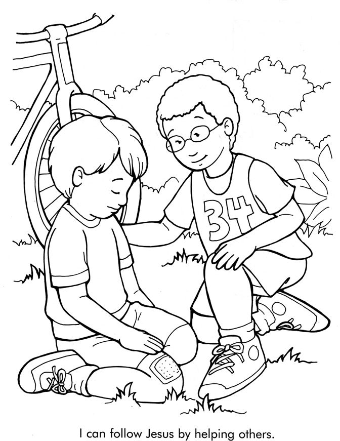 I Can Follow Jesus By Helping Others Coloring Page Sunday School Coloring Pages Bible Coloring Pages Bible Coloring Sheets