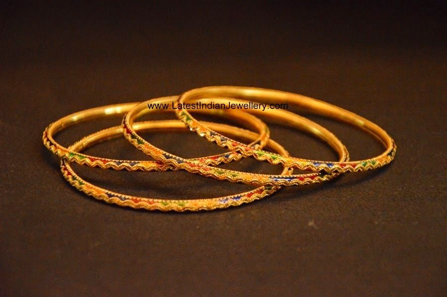 Multi Colored Gold Bangles   Gold bangles, Bangle and Daily wear