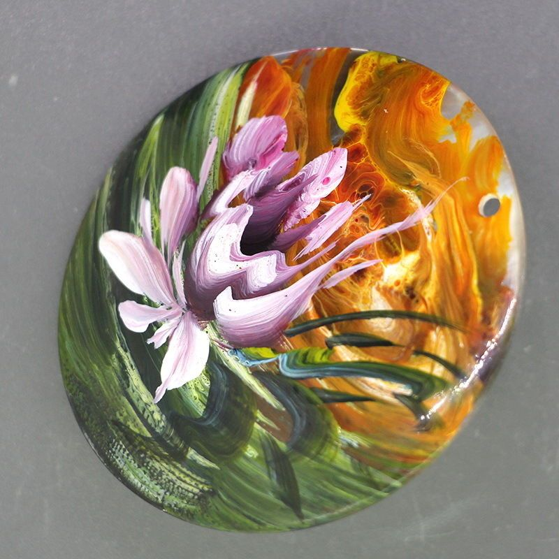 Hot Fashion Necklace Hand Painted Flower Peony Natural Shell pendant ZL303740 #ZL #Pendant
