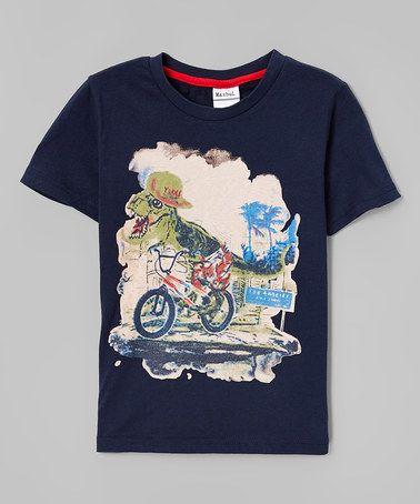 Look at this #zulilyfind! Navy Biking T-Rex Tee - Infant, Toddler & Boys #zulilyfinds