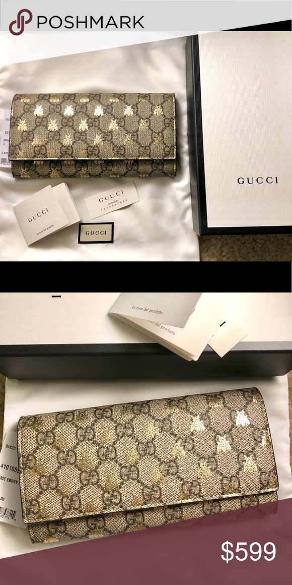 680dd6789b3d02 AUTH GUCCI LINEA GG SUPREME BEE WALLET AUTH GUCCI LINEA GG SUPREME GOLDEN BEE  CONTINENTAL WALLET