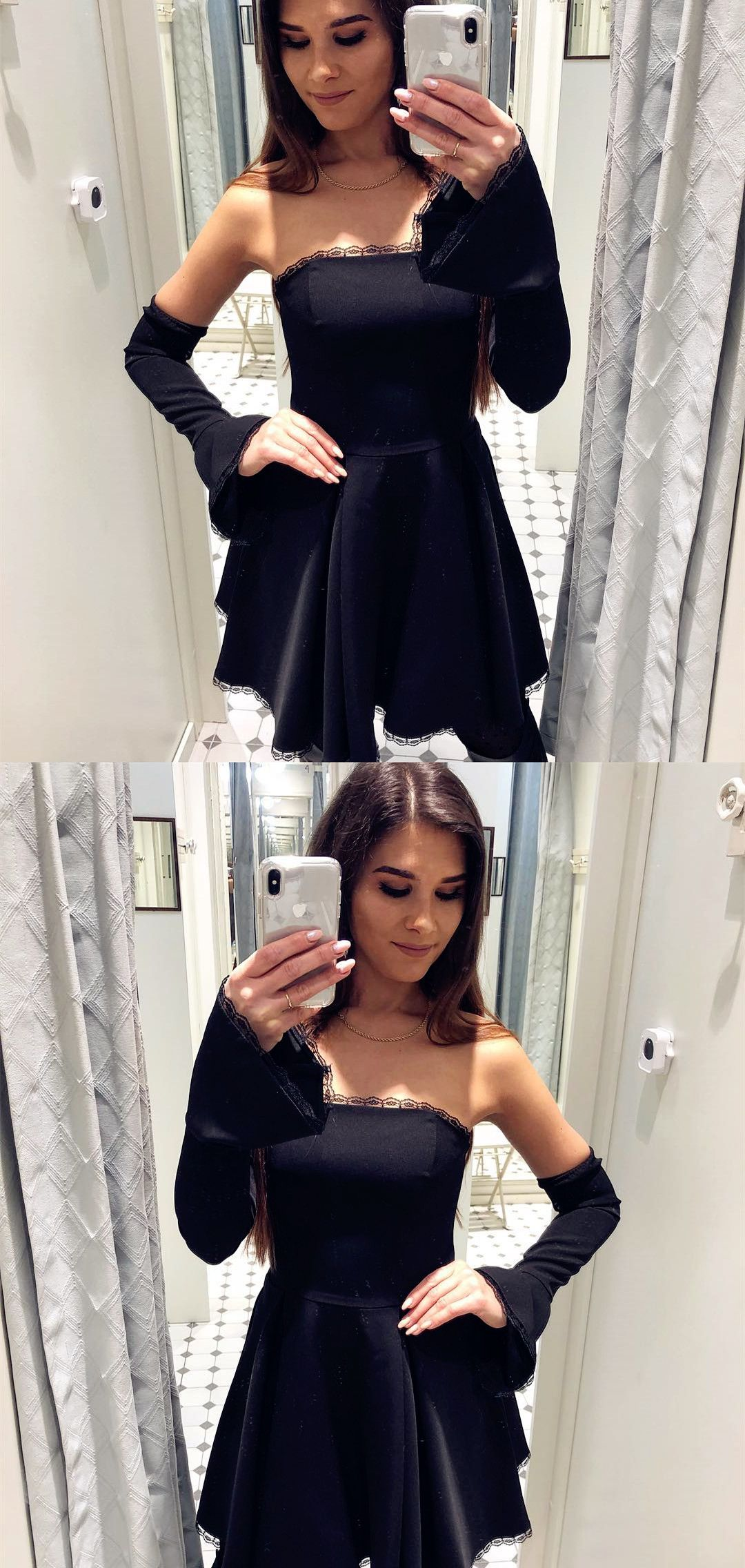 e8768301e2796d Detachable Flare Sleeves Strapless Black Short Homecoming Dress ...