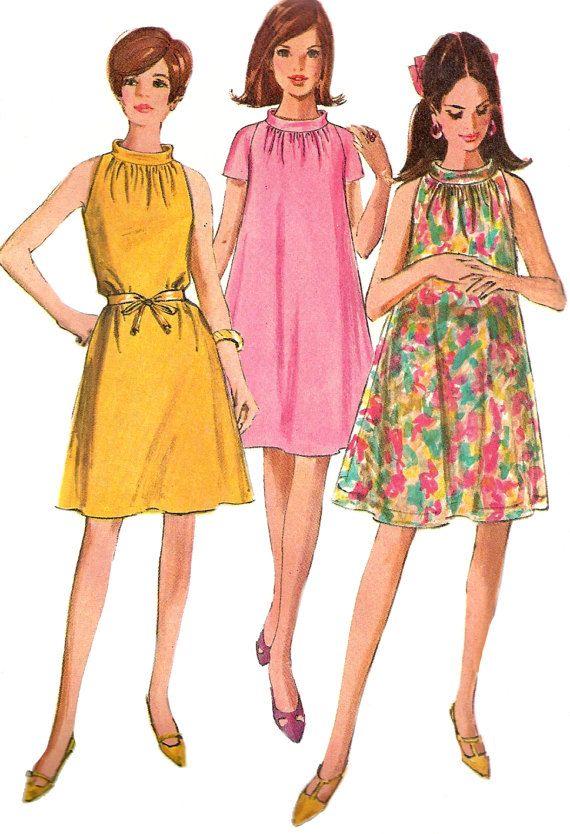 1960s Tent Dress Pattern Mod Simplicity Sleeveless Vintage Uncut ...