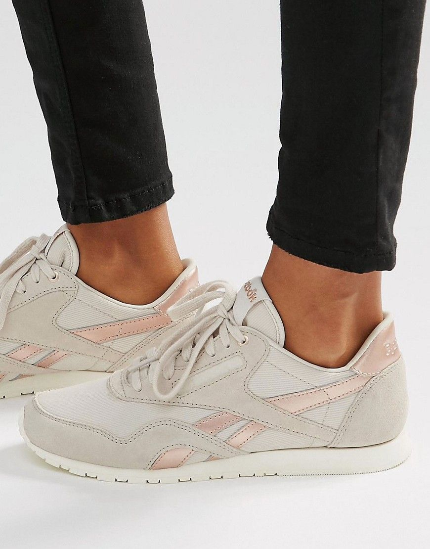 c76f6de17ec54 Image 1 of Reebok Classic Sneakers In Nude With Rose Gold Trim  81