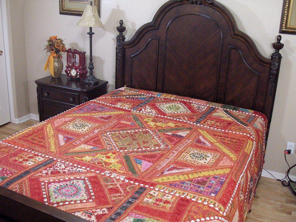 Kutch Artisan Handicraft Bedspread Beautiful Bohemian Fine